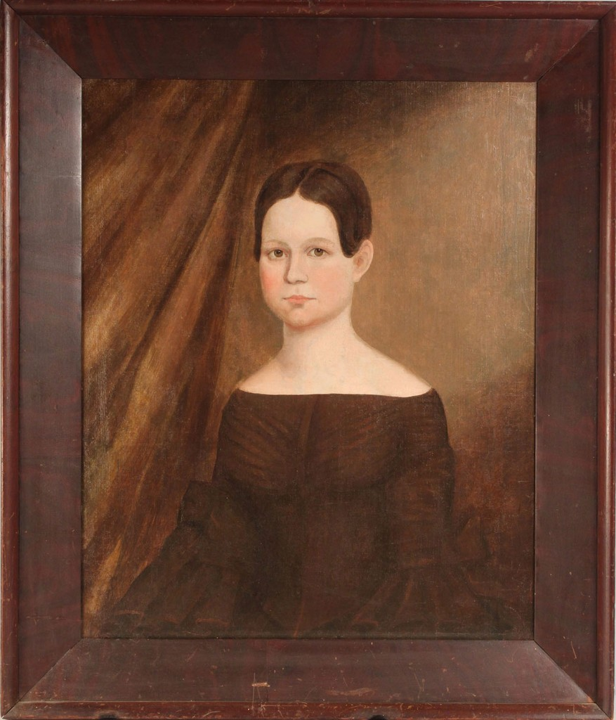Lot 279: American School, 19th c. portrait of a girl