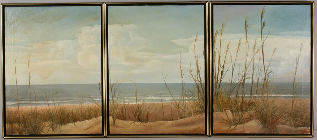 Lot 526: Lot of 3 Oil on Canvas Panoramic Seascapes, W. Sch
