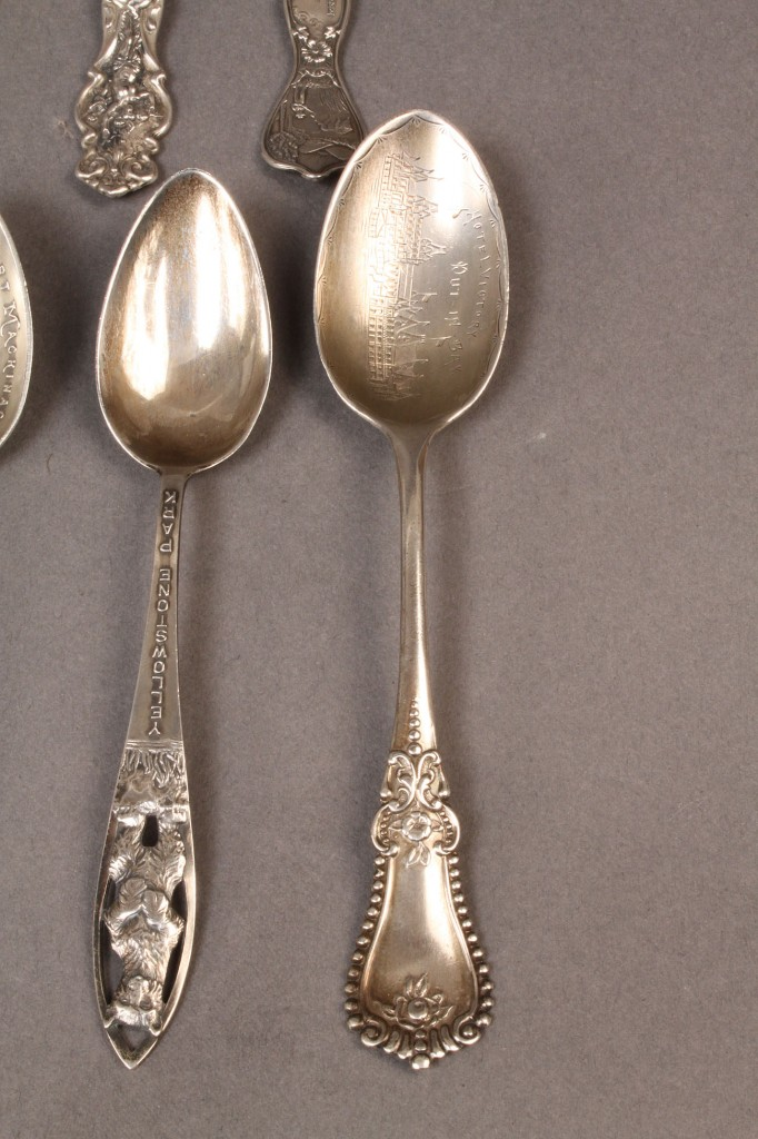 Lot 614A: Sterling Silver souvenir spoons & coin sil