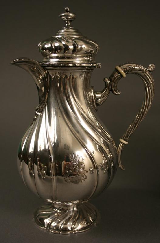German silver tea service, marks for Eduard Foehr