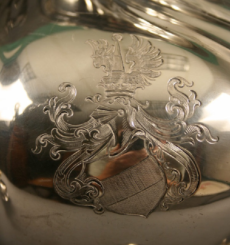 German silver tea service, marks for Eduard Foehr