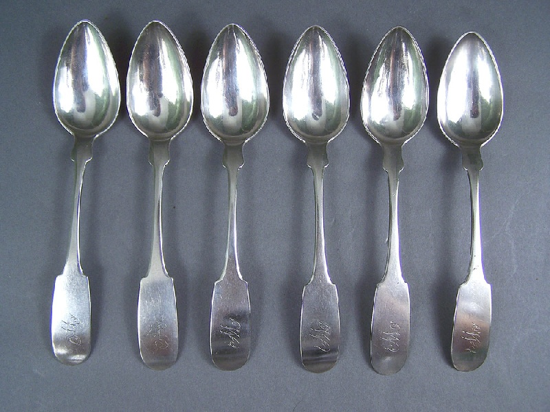 Tennessee Coin silver spoons, marked J. Peabody