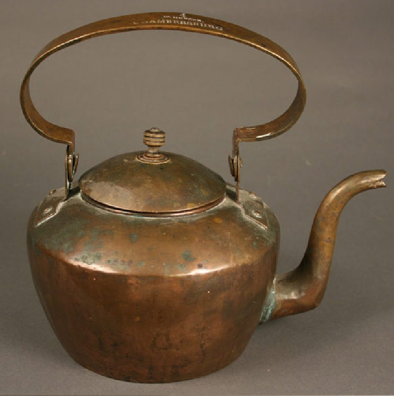 Stamped American copper tea kettle, W. Heyser Chambersburg PA