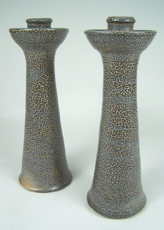 North Carolina Turn & Burn folk pottery candlesticks