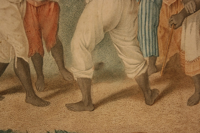 Rare colored engraving titled – A Cudgelling Match between English & French Negroes in Dominica,  A.  Brunias