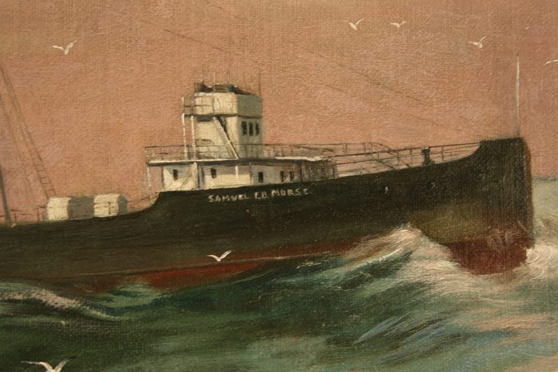 Oil on canvas of the U.S. Army ship, Samuel E. B. Morse