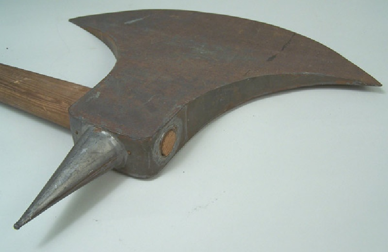 Tin folk art battle ax and wooden hatchet