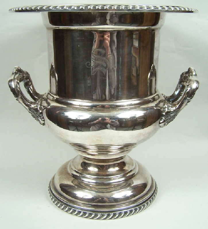 English silver plate wine cooler in an urn form