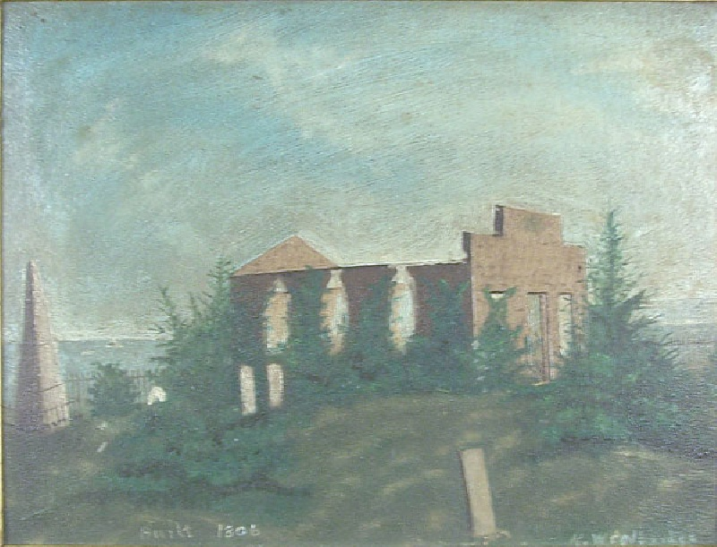 Oil on painting of cemetery and church
