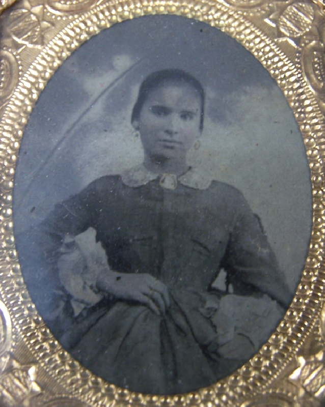 An early tintype of woman, probably Fannie Wilson circa 1860