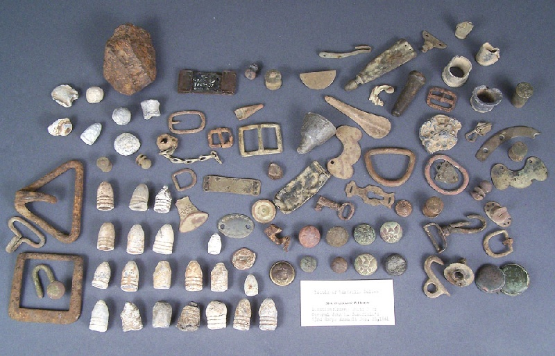 Civil War relics from the battle of Nashville, Stanley Horn collection