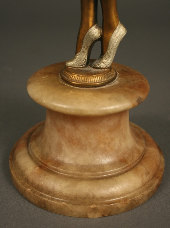 Cold painted art deco bronze of woman holding ball