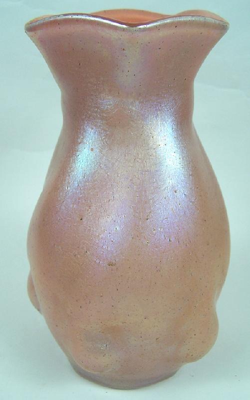 Antique pink iridescent art vase, possibly Loetz