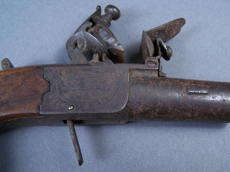 A. Lot 1 – Pair of flintlock dueling pistols, English