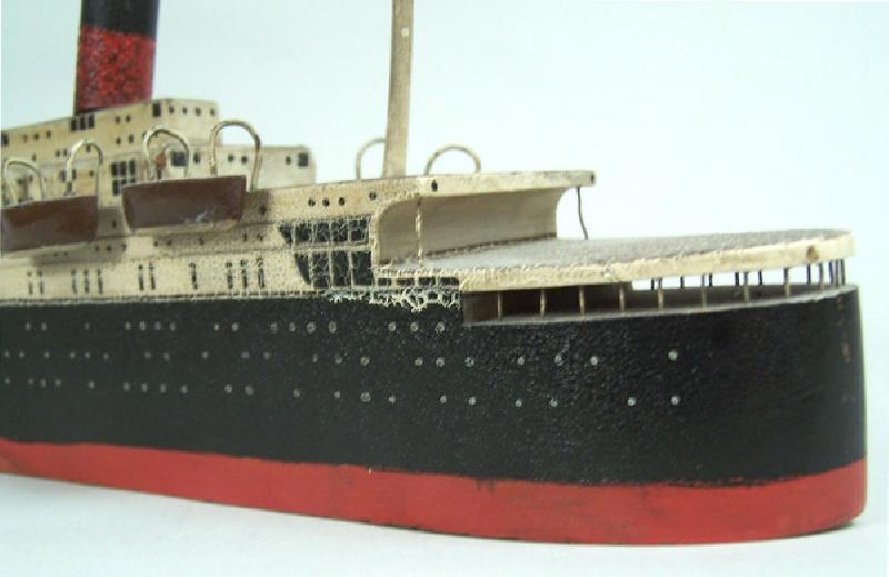 Folk art painted ocean liner model, circa 1920