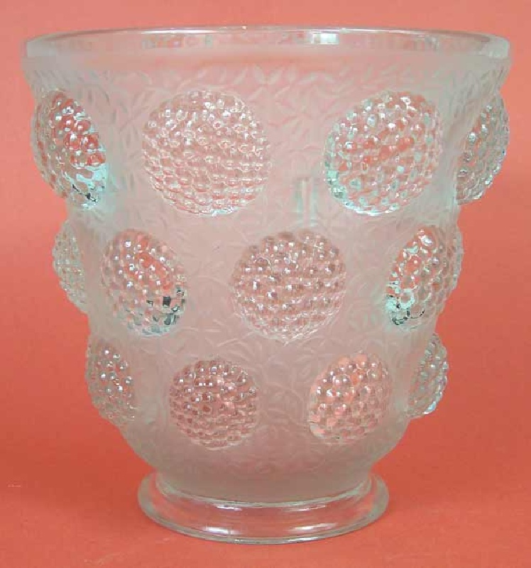 Verlys frosted vase, berry design, signed