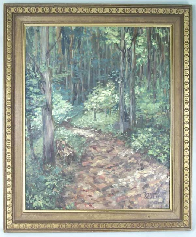 Oil on board of forest scene by SZOT