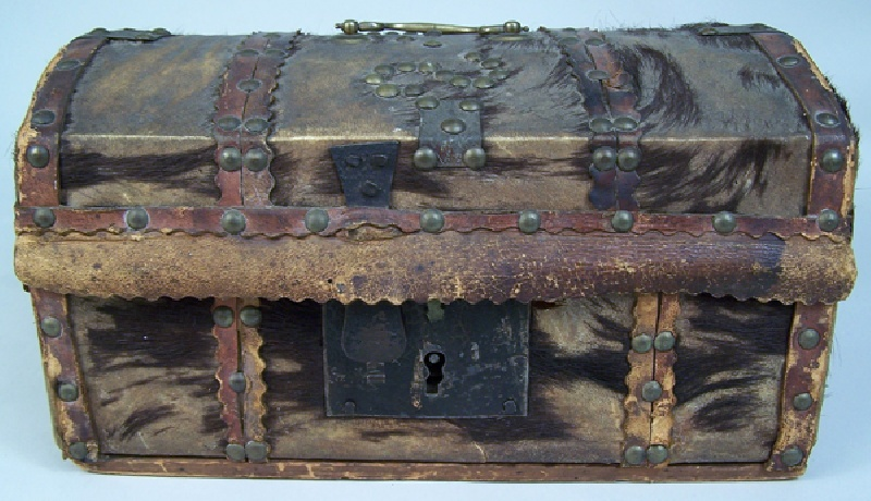 Early American hide covered box with interior Philadelphia label