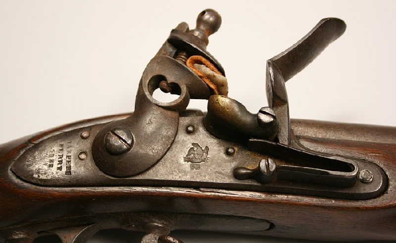 A Harpers Ferry flintlock rifle, U.S. Model 1816 musket, type II, lockplate marked Harpers Ferry 1825 – Lot#229