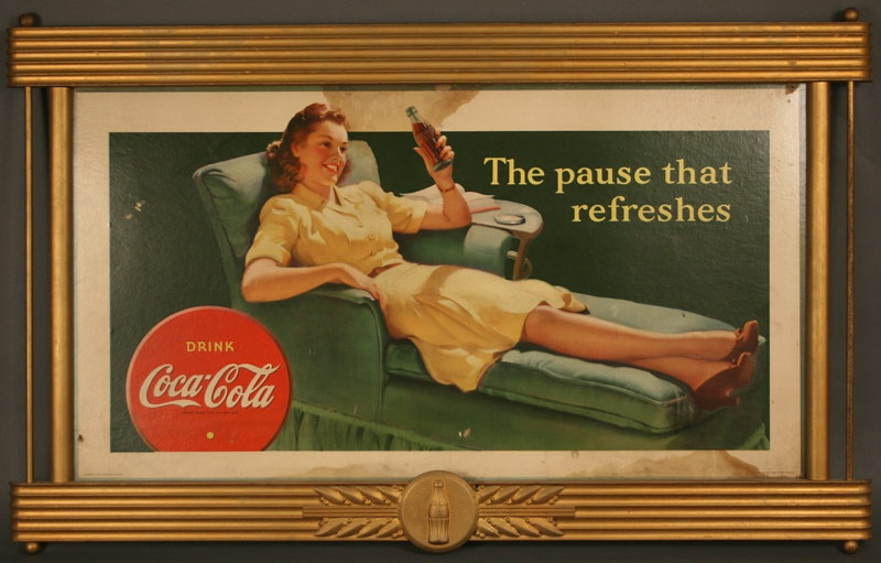 Sign, 1942 framed Coca Cola advertisement