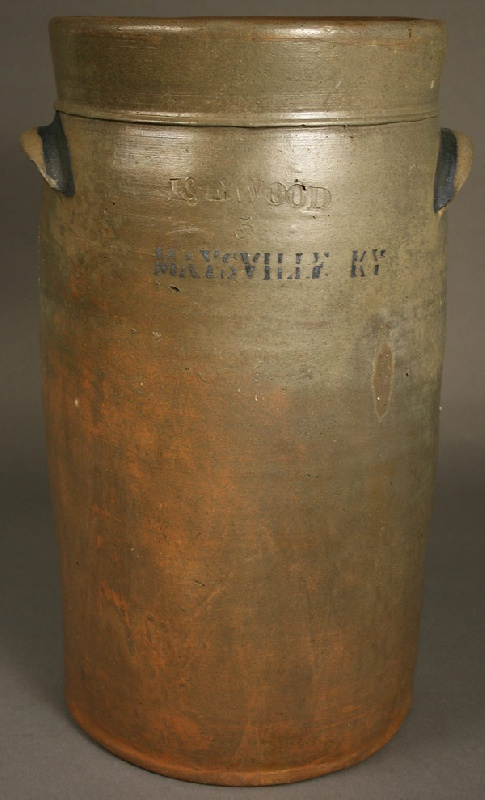 Maysville KY stoneware pottery churn, stamped J & E Wood