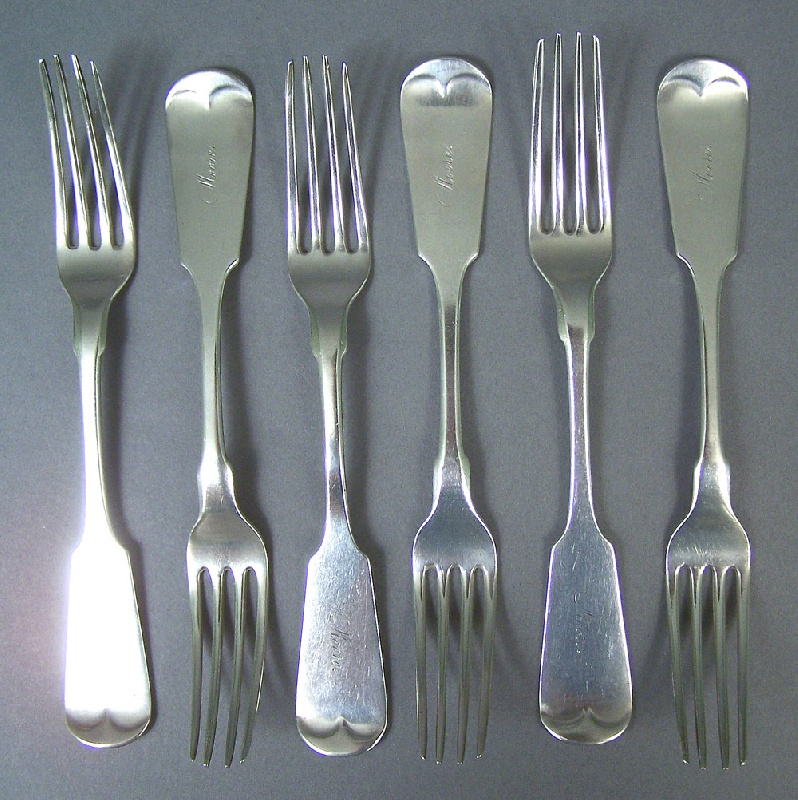 Set of six Tennessee forks, marked Gates & Pohlman