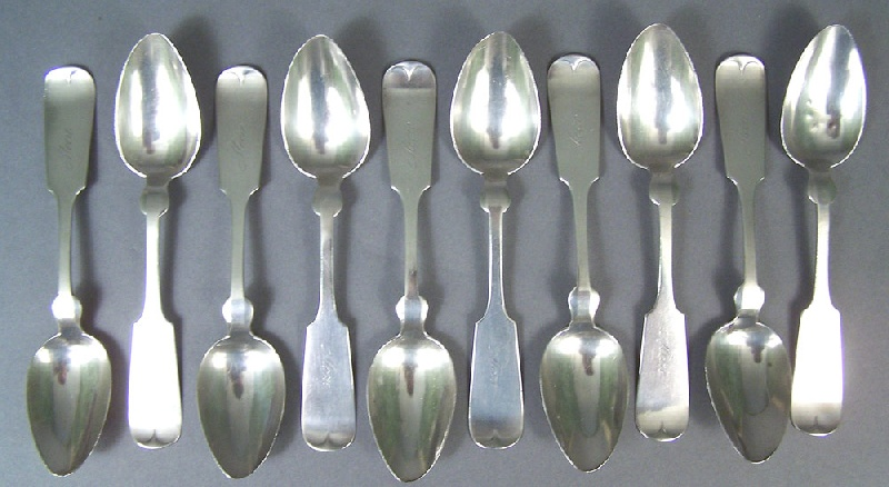 Set of ten Tennessee silver spoons, marked B. H. Stief