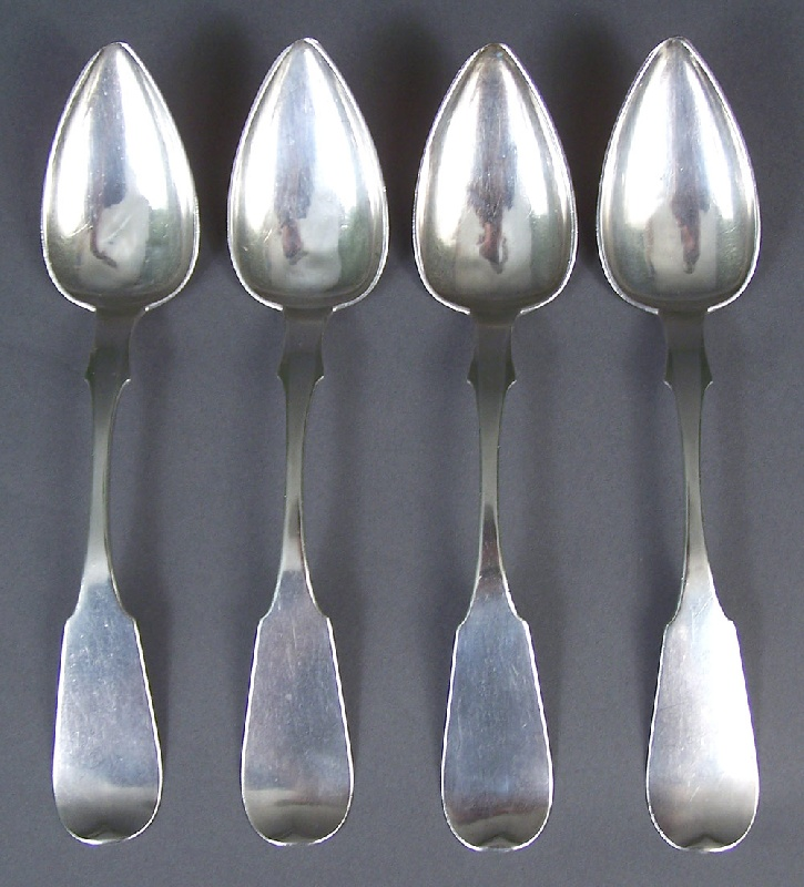 Set of four Tennessee coin silver spoons, marked W. H. Calhoun, Nashville T.