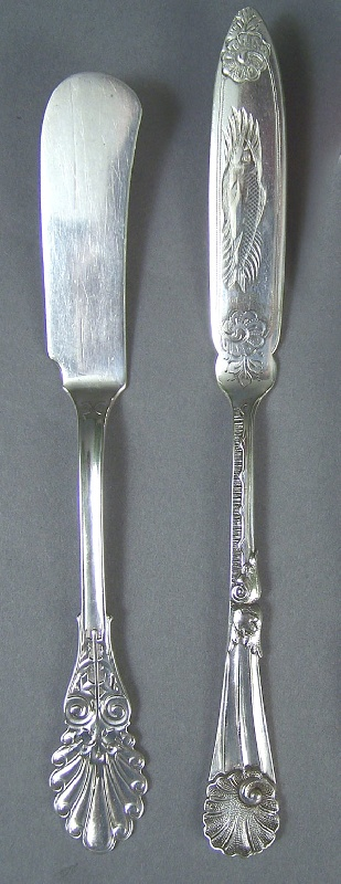 Tennessee silver butter knife marked W. H. Calhoun, fish knife marked W&H