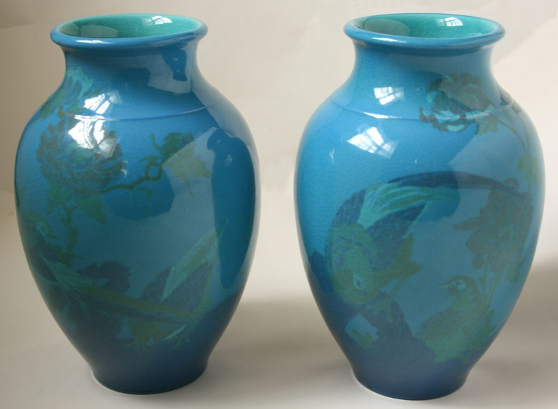 Pair of large Rookwood bird decorated vases by Arthur Conant.