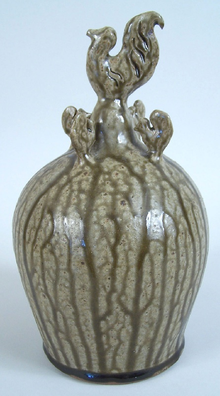 Southern folk pottery chicken bank by Billy Ray Hussey (lot#227)