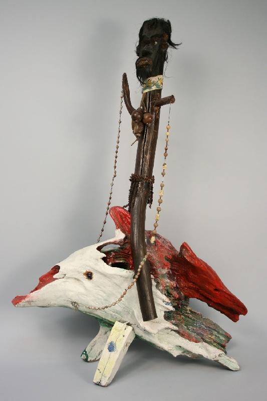 "Monumental sculpture, ""Medicine Man Riding A Hog"" by Tennessee artist, Bessie Harvey"