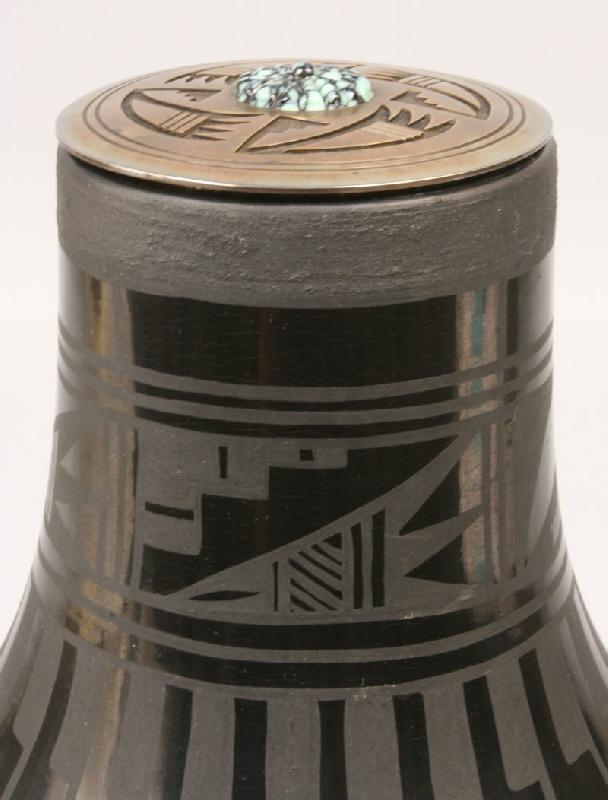 Large San Ildefonso jar, feather design, signed Blue Corn