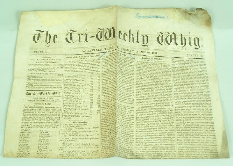 Parson Brownlow Civil War broadside and newspaper (lot#23)