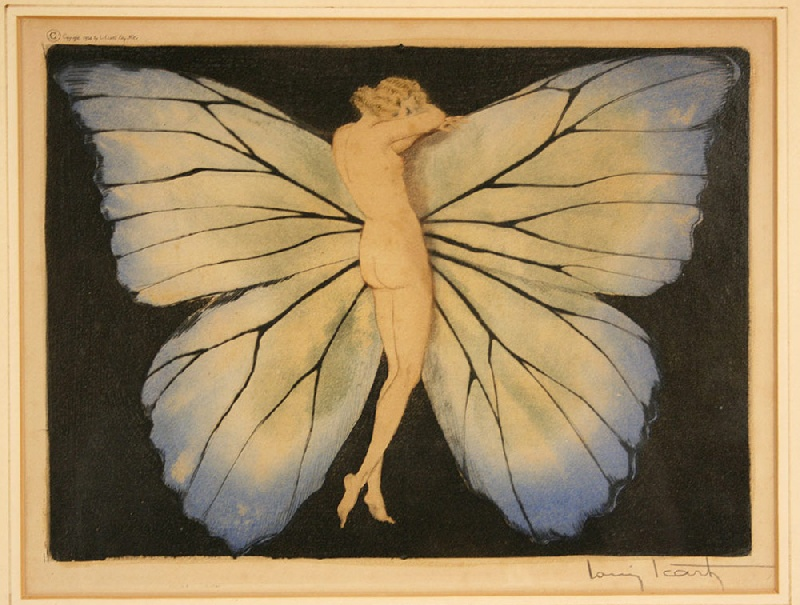 Colored etching by Louis Icart (French, 1880-1950), signed in pencil, windmill blind stamp