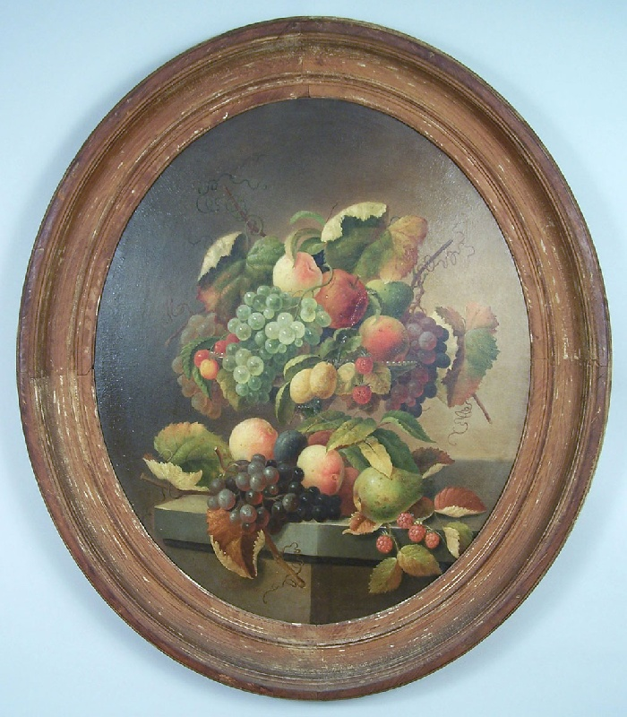Charles Baum (American, 1812-1877) still life painting with fruit (lot#189)