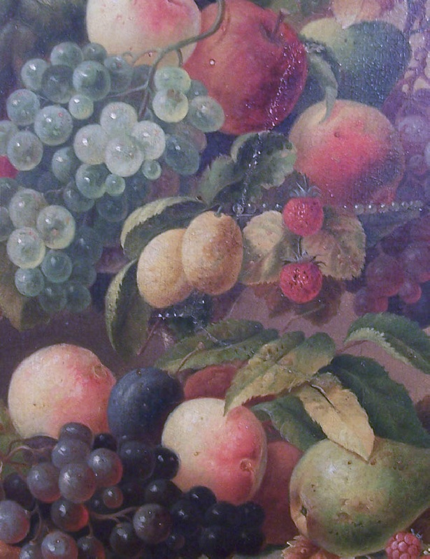 Lot 189: Charles Baum (American, 1812-1877) still life painting with fruit