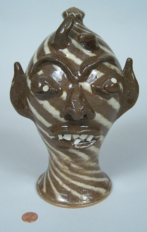 Southern Folk Pottery Wig Stand by Charles Lisk (lot#233)