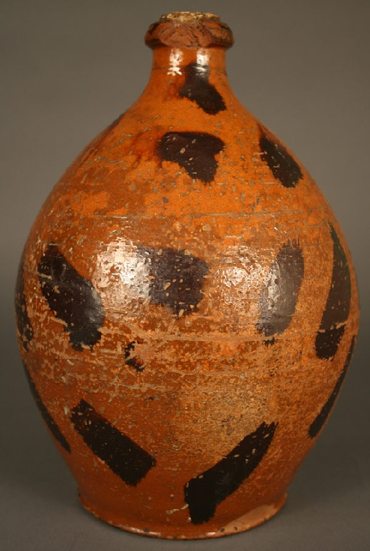 East Tennessee redware jug with manganese decoration