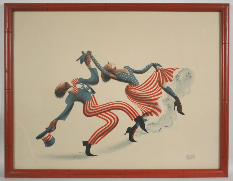 """Color lithograph of """" Cakewalk """" by Al Hirschfeld (1903-2003) from the Rhythm portfolio. Mallonee estate."""
