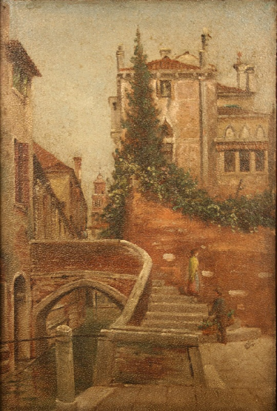 Thomas Campbell oil on board of European town scene