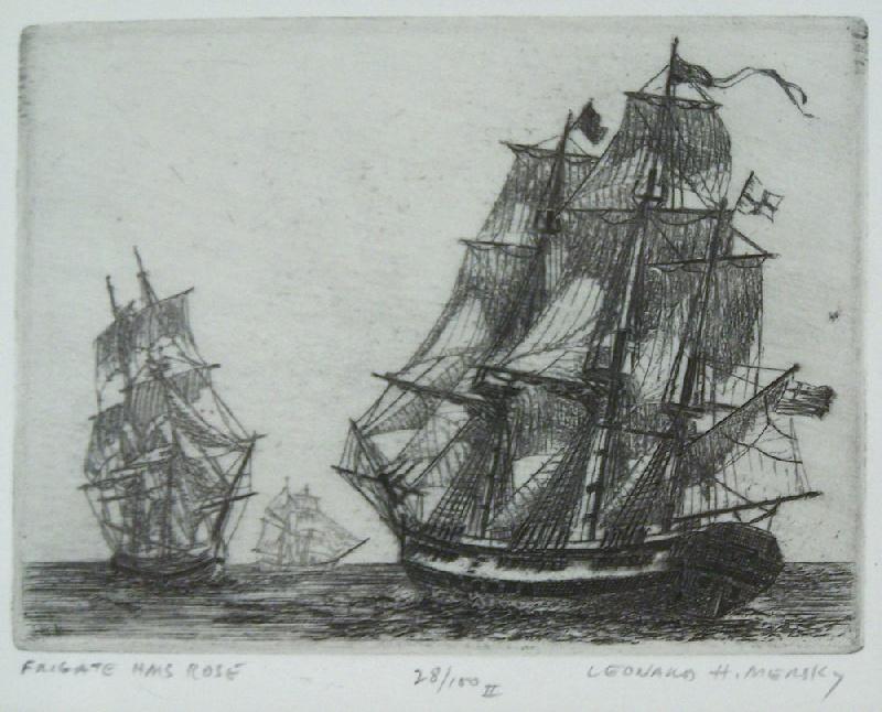 Pair of marine etchings by Leonard H. Mersky (lot#193)