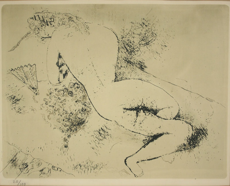 Early Marc Chagall lithograph of Woman with a Fan, signed in plate, pencil numbered in lower left margin. Mallonee estate.