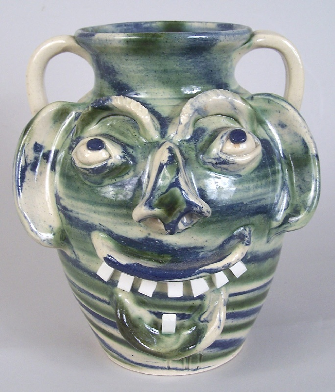 Southern folk pottery face vessel by Charles Lisk (lot#232)