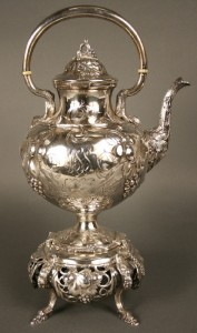 Coin silver kettle on stand, American with Albany retailer mark, circa 1850