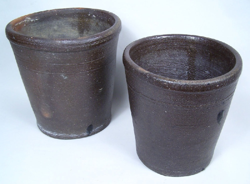 Pair of Tennessee stoneware flower pots, attributed to Decker pottery  (lot#136)