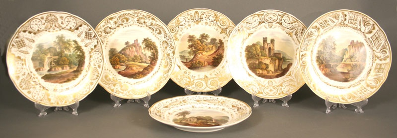 Rare set of 6 early Derby plates with European painted scenes. Early 19th century. Mallonee estate of Nashville.