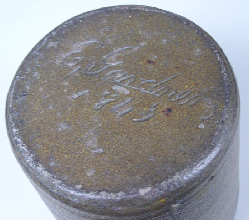 "Early Southern stoneware jar, marked in script, ""E. Gardner 1843"" (lot#33)"