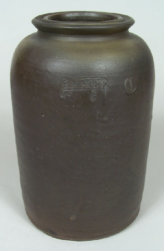 "Virginia stoneware jar, stamped ""E.W. Mort"" (lot#74)"