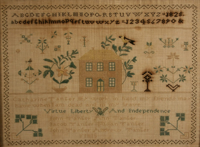 Patriotic 1826 Sampler, Lancaster Co., PA